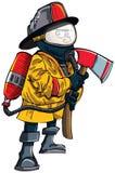De brandweerman van het beeldverhaal in een masker met een bijl Royalty-vrije Stock Foto's