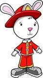 De Brandweerman van het Konijn van het konijntje vector illustratie