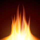 De brandwond van de brandvlam op zwarte achtergrond Royalty-vrije Stock Afbeelding