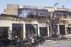 De brandwond van de strookwandelgalerij uit tijdens de rellen van 1992, Zuid- Centraal Los Angeles, Californië stock afbeelding