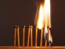 De brandwond van de gelijkenzwavel met een rode vlam op een donkere achtergrond royalty-vrije stock fotografie