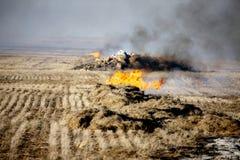 De Brandwond van het prairiestoppelveld stock foto's