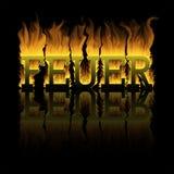 De brandwonden van de woordbrand Stock Foto's