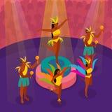De Braziliaanse Dansende Isometrische Illustratie van Carnaval royalty-vrije illustratie