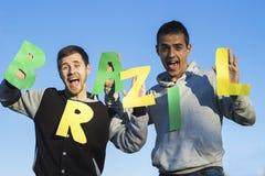 De Braziliaanse ventilators van het sportvoetbal stock fotografie