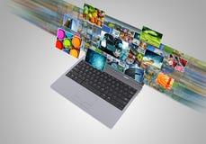 De breedband en het stromen van Internet de technologie van verschillende media stock illustratie