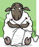 De breiende illustratie van het schapenbeeldverhaal Stock Foto's