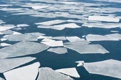De brekende ijsschol van het de lenteijs bij het overzees stock foto's