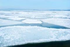 De brekende ijsschol van het de lenteijs bij Japanse overzees stock afbeeldingen