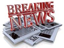 De brekende krant van het Nieuws Grafische Dagelijkse nieuws Royalty-vrije Stock Fotografie