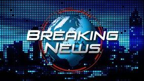 ` De brekende Titel van de Nieuws` Uitzending Grafisch op Geanimeerd het Spinnen Bolblauw Als achtergrond vector illustratie