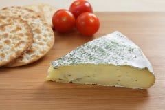 De Brie en de crackers van Herbed Stock Fotografie