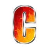 De Brief C van het Alfabet van vlammen Stock Foto's
