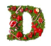 De Brief D van het Alfabet van Kerstmis stock foto's