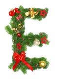 De Brief E van het Alfabet van Kerstmis Stock Afbeelding