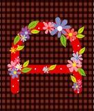 De brief een Helder bloemenelement van kleurrijk alfabet binnen Stock Afbeelding