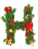 De Brief H van het Alfabet van Kerstmis Royalty-vrije Stock Foto's