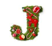 De Brief J van het Alfabet van Kerstmis stock fotografie