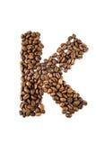De brief K van de koffie die op wit wordt geïsoleerd Royalty-vrije Stock Foto