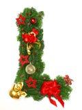 De Brief L van het Alfabet van Kerstmis Stock Afbeeldingen