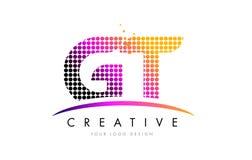 De Brief Logo Design van GT G T met Magenta Punten en Swoosh stock illustratie