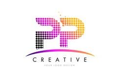 De Brief Logo Design van pp P met Magenta Punten en Swoosh stock illustratie