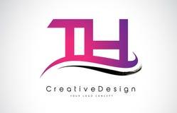 De Brief Logo Design van Th T H Creatieve Pictogram Moderne Brieven Vectorl Royalty-vrije Stock Afbeelding