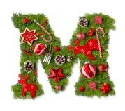 De brief M van het Kerstmisalfabet stock foto