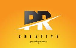 De Brief Modern Logo Design van PR P R met Gele Achtergrond en Swoo Royalty-vrije Stock Fotografie