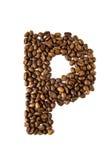 De brief P van de koffie die op wit wordt geïsoleerde Stock Fotografie