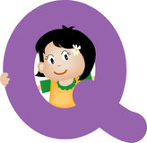 De brief Q van het alfabet (meisje) Royalty-vrije Stock Fotografie