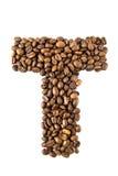 De brief T van de koffie die op wit wordt geïsoleerds Stock Foto's
