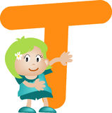 De brief T van het alfabet (meisje) Stock Foto's
