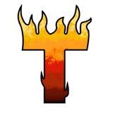De Brief T van het Alfabet van vlammen royalty-vrije illustratie