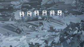 De brief van de ENERGIEkubus op de zonneoppervlakte van de siliciumcel Concept vernieuwbare schone energie Royalty-vrije Stock Afbeelding