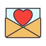 De brief van de liefde Envelop met hart Royalty-vrije Stock Fotografie