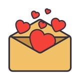De brief van de liefde Envelop met hart Stock Foto