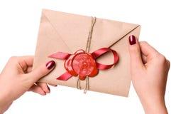 De brief van de valentijnskaart Stock Foto's