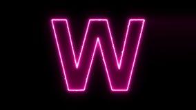 De brief W openbaart neon de elektrische gloeiende motie aan centrum afveegt stock video