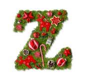 De Brief Z van het Alfabet van Kerstmis stock foto