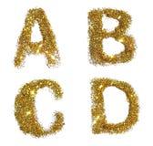 De brieven A, B, C, D van gouden schitteren fonkeling op witte achtergrond Royalty-vrije Stock Afbeelding