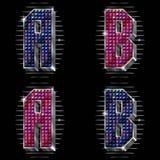 De brieven A, B van het volume met glanzende bergkristallen Stock Afbeeldingen
