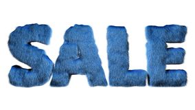 De brieven 3d illustratie van het verkoop blauwe pluizige bont royalty-vrije illustratie