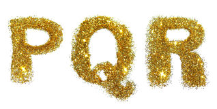 De brieven P, Q, R van gouden schitteren fonkeling op witte achtergrond Royalty-vrije Stock Afbeelding