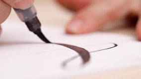 De brieven van de Calligraphisttekening op witte spatie Dicht schot Zachte nadruk Het kalligrafische van letters voorzien met zwa stock videobeelden