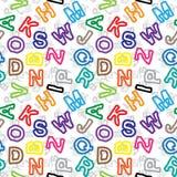 De brieven van de kleur op wit naadloos patroon als achtergrond Stock Foto