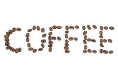 De brieven van de koffie die door koffiebonen worden gemaakt stock afbeelding