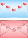 Leuke liefdebrieven die op witte achtergrond worden geïsoleerd Stock Fotografie