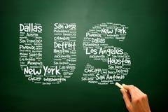 De brieven van de V.S. met steden noemt woordenwolk, presentatie backgroun royalty-vrije stock foto's