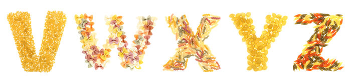 De brieven van deegwaren royalty-vrije stock afbeeldingen